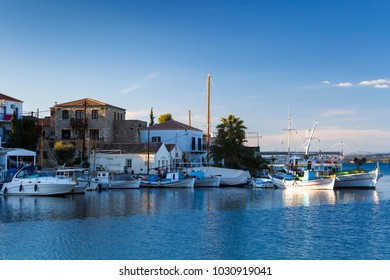 Spetses, Greece - January 19, 2018: View of the harbor in Spetses village, Greece.