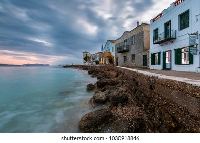 Spetses, Greece - January 20, 2018: Morning view of Spetses village and its seafront, Greece.