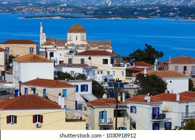 Spetses, Greece - January 20, 2018: One of the largest churches in Spetses village, Greece.