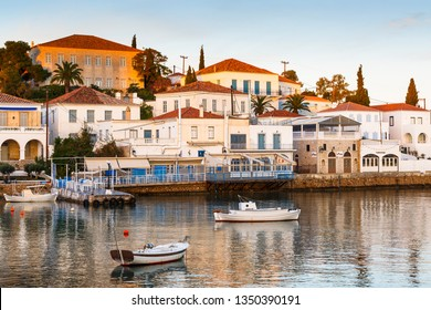 Spetses, Greece - January 20, 2018: Houses in the harbor of Spetses, Greece.