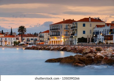 Spetses, Greece - January 20, 2018: Evening view of Spetses village from the harbour pier, Greece.