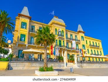 SPETSES, GREECE - JUN 21, 2014: Beautiful old big building in Spetses island in Greece on Jun 21, 2014