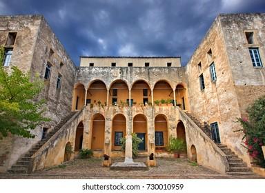 SPETSES ISLAND, GREECE- September 20, 2016. The Spetses Museum (Hatziyiannis - Mexis mansion, 18th century) Spetses island, Attica, Greece.