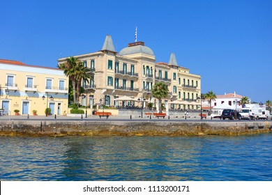 Spetses island, Saronic gulf / Greece - June 02 2018: Photo from iconic neoclassic Poseidonion landmark hotel near port