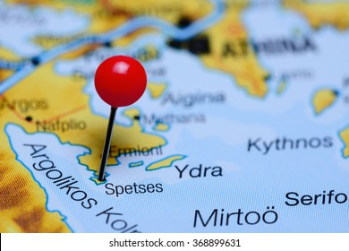 Spetses pinned on a map of Greece