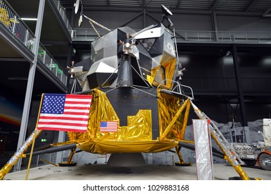 SPEYER, GERMANY - JULY 7: American Apollo 17 lunar modul on display at the Technik Museum Speyer, on July 7. 2017 in Speyer, Germany