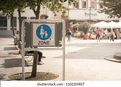 SPEYER, GERMANY - MAY 21 2018: german road sign for pedestrian zone reading 'zone'
