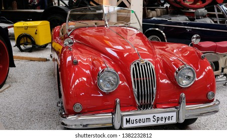 Speyer, Germany - November 22, 2017: The Jaguar XK140 is a sports car manufactured by Jaguar between 1954 and 1957, Technik Museum Speyer