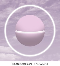 Sphere against cloudy sky. Contemporary art collage. Digital collage.