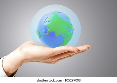 Sphere glass cover save the world ,save the world for saving the future concept