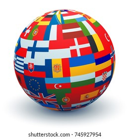 A sphere made from combining differentEuropean Flags.