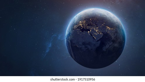 Sphere of nightly Earth planet in outer space. City lights on planet. Life of people. Solar system element. Elements of this image furnished by NASA - Shutterstock ID 1917510956