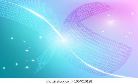 Sphere object on blue and pink abstract background