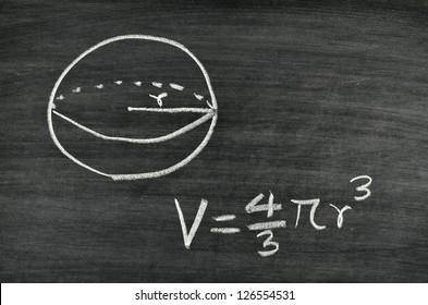 Sphere volume formula written on blackboard
