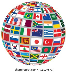 sphere with world flags isolated on white