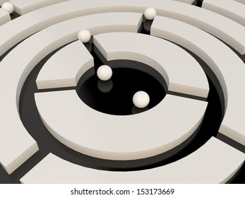 Spheres in an abstract maze, 3D