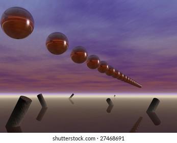 Spheres over tilted, rusty columns in fog
