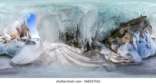 spherical 360 degrees 180 panorama dawn in an ice cave with icicles on Baikal, Olkhon. vr content