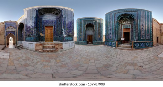 Spherical, 360 degrees panorama (equirectangular projection) of oriental ancient complex of Shah i Zinda. Samarkand, Uzbekistan