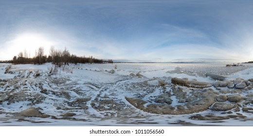Spherical, 360 degrees panorama. Frozen rocky shore of Onega Lake. Karelia, Russia.