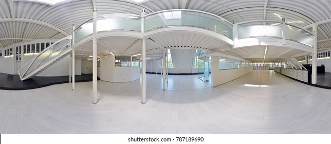 Spherical 360 degrees panorama projection, panorama in interior empty corridor room in light colors with stairs and metal structures with designer windows and lighting. Russia. Moscow. 03 July 2017
