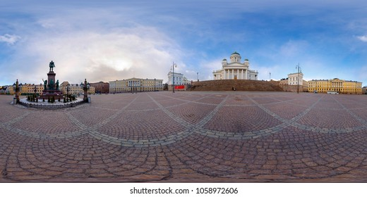 Spherical, 360 degrees panorama. Senate Square, Helsinki.  Finnish Evangelical Lutheran cathedral of the Diocese of Helsinki.