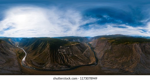 Spherical, 360 degrees, seamless aerial panorama of the Katu Yaryk mountain pass and the valley of the river of Chulyshman. Altai Republic, Russia