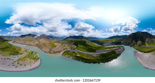 Spherical, 360 degrees, seamless, aerial panorama of the river of Katun in the place of confluence with the river of Chuya. Altai Republic, Russia