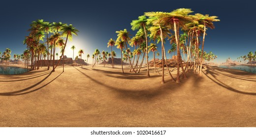 Spherical 360 degrees seamless panorama with a desert oasis and palms Computer generated 3D illustration