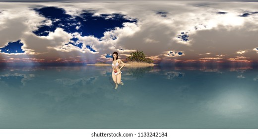 Spherical 360 degrees seamless panorama with attractive woman in bikini in front of an island in the sea Computer generated 3D illustration