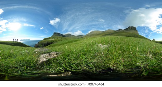 Spherical 360 degrees seamless panorama in equirectangular projection, panorama of natural landscape in Faroe Islands. VR content