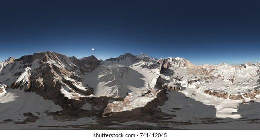 Spherical 360 degrees seamless panorama with a mountain panorama Computer generated 3D illustration