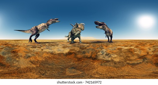 Spherical 360 degrees seamless panorama with the dinosaurs Tyrannosaurus Rex and Albertaceratops Computer generated 3D illustration