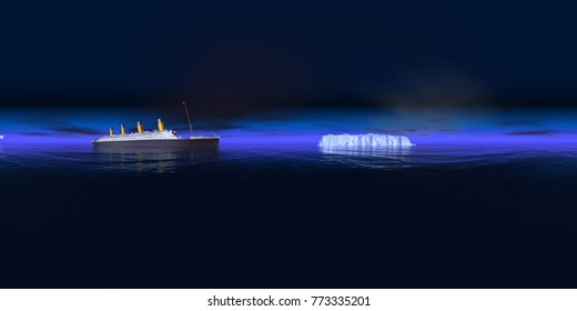 Spherical 360 degrees seamless panorama with Titanic and iceberg Computer generated 3D illustration