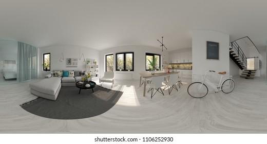 Spherical 360 panorama projection Scandinavian style interior design 3D rendering