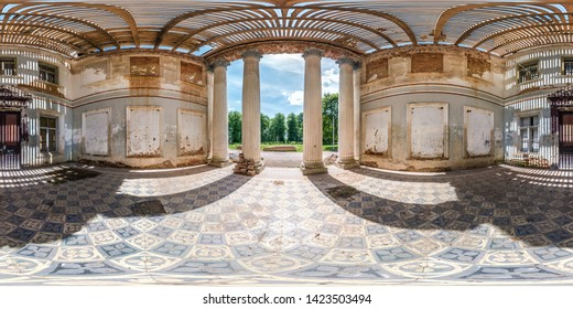 spherical hdri panorama 360 degrees angle view inside stone abandoned ruined palace building with columns in equirectangular projection, VR AR virtual reality content