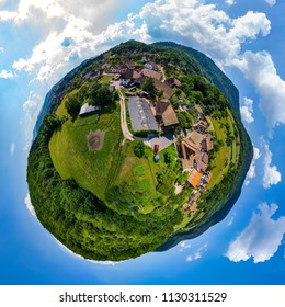 Spherical little planet view of little village Breitenbach in Alsace, France