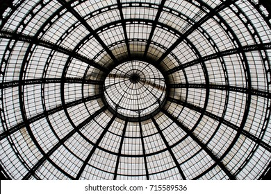 Spherical metal and glass dome seen from below
