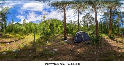 Spherical panorama 360 degrees 180 tent on camping in the forest.