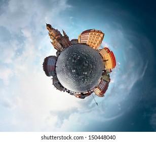Spherical panorama of city of Dresden in a form of little planet
