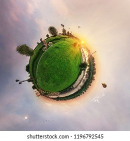 Spherical panorama of the city, little planet