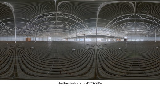 Spherical panorama of indoor construction site before concrete floor fill.  Full spherical (360 by 180 degree) panorama in equirectangular projection.