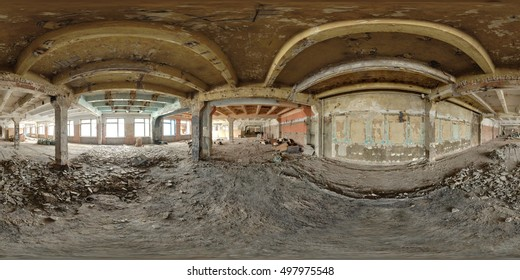 Spherical panorama inside abandoned building. Full 360 by 180 degree in equirectangular projection.