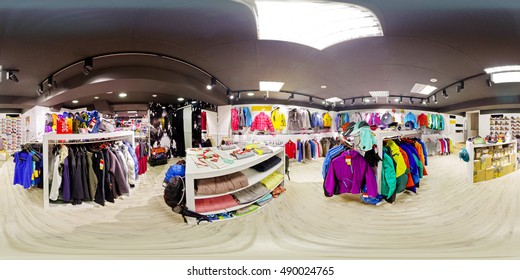 Spherical panorama of the interior of sportswear store 360 to 180 degrees