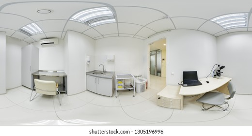 Spherical panorama of the laboratory room with open doors to study the culture of drugs under the microscope and examine the results on the screen of a special medical computer