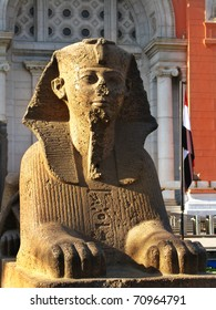 Sphinx at the Egyptian Museum, in front of Tahrir Square (where massive anti-government demonstrations took place in feb 2011). Cairo, Egypt
