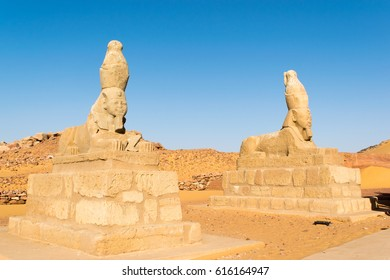 Sphinx at entrance of Wadi El Seboua temple, Nubia, Nasser Lake, Egypt