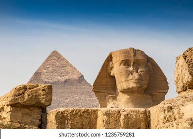 Sphinx in front of the Cheops pyramid, Giza, Egypt