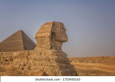 The Sphinx in front of the Pyramids, close view
