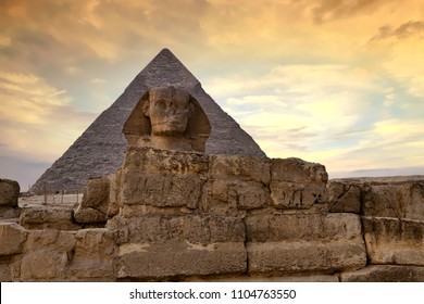 Sphinx and Great Pyramid of Giza at dusk, Cairo, Egypt